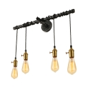 24 Inches Wide Natural Iron Four Light Industrial Hanging Pipe LED Wall Lamp