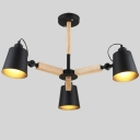 Black Cone 3 Light LED Chandelier with Wood Accents