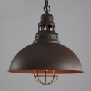 Antique Brown Single Light LED Pendant in Cage Style