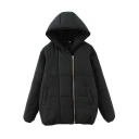 Hooded Inclined Zipper Raglan Sleeve Plain Padded Coat