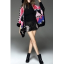 Geometric Color Block Batwing 3/4 Length Sleeve Cardigan