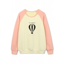Fire Balloon Print Raglan Sleeve Color Block Sweatshirt