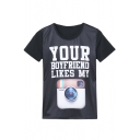 Letter & Camera Print Short Sleeve Round Neck Tee