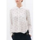 Glasses Print Stand Up Neck Pocket Detail Shirt