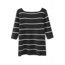 Boat Neck Stripes Color Block Dip Hem Half Sleeve Sweater