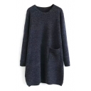 Round Neck Long Sleeve Pocket Split Side Longline Sweatshirt