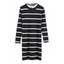 Lace Patchwork Long Sleeve Stripes Round Neck Knit Midi Dress
