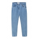 Zipper Fly Loose Tapered Plain High Waist Jeans