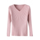 Plain Wave V-Neck Long Sleeve Slim Pullover Sweater