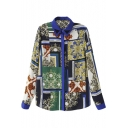 Contrast Collar Vintage Color Patchwork Totem Print Shirt