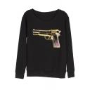 Gun Print Round Neck Long Sleeve Pullover Sweatshirt