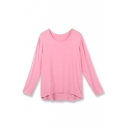 Plain Round Neck Long Sleeve Dip Hem Pullover Tee