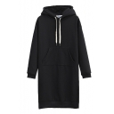 Hooded Long Sleeve Velvet Plus Plain Tunic Sweatshirt