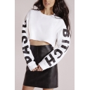 Round Neck Letter Print Long Sleeve Cropped White Sweatshirt