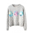 Round Neck Batwing Polka Dot Print Pullover Sweater