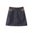 Zip Up Double Button Patchwork Pockets A-Line Mini Denim Skirt