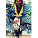 Round Neck Camouflage PU Patchwork Color Block Sweatshirt