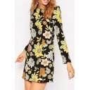 Round Neck Vintage Floral Print Long Sleeve A-Line Mini Dress