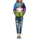 Hooded Cool Cat & Tree Print Long Sleeve Pockets Sweatshirt