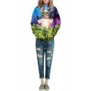 Hooded Cool Cat & Tree Print Long Sleeve Pockets Sweatshirt
