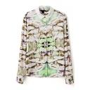 Lapel Mixed Colors Mushroom Print Long Sleeve Shirt