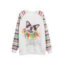 White Geometric & Cut Dog Print Raglan Sleeve Sweatshirt