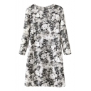 Round Neck Ink Floral Print 3/4 Length Sleeve Midi Dress