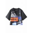 V-Neck Half Sleeve Astronaut & Letter Print Cropped Tee