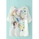 White Round Neck Short Sleeve Floral & Love Print Tee