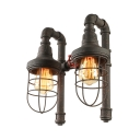 14 Inches Mottled Rust Iron 2 Light Cage LED Wall Lamp