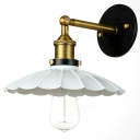 White Finish 1 Light LED Wall Sconce with Scalloped Metal Shade in Industrial Style