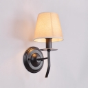 Industrial Single Light LED Wall Light with Fabric Shade