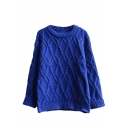 Round Neck Plain Rhombus Knit Long Sleeve Sweater