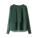 Plain Round Neck Layered Chiffon Long Sleeve Blouse
