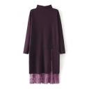 Plain High Neck Lace Patchwork Split Front Knit Dress