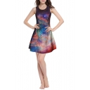 Sleeveless Round Neck Brown Galaxy Print Fit Dress