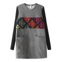 Knit Long Sleeve Patchwork Geometric Print Pockets Mini Dress