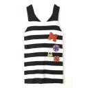 V-Neck Sleeveless Stripes Logo Patchwork Color Block Sweater
