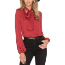 Plain Bow Tie Neck Long Balloon Sleeve Blouse