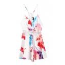 Zip Back V-Neck Straps Floral Print Lace Patchwork Romper