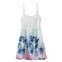 Straps Backless Tie Back Floral Print A-Line Mini Dress