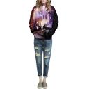 Hooded Galaxy & Deer Print Loose Pullover Brown Sweatshirt