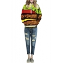 Hooded Long Sleeve Hamburger Print Pullover Sweatshirt