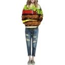 Hooded Long Sleeve Hamburger Print Pullover Sweatshirt