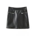Plain High Waist Zipper Detail Bodycon PU Mini Skirt