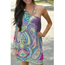 One Shoulder Paisley Print Long Sleeve Mini Dress