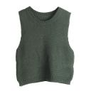 Plain Round Neck Sleeveless Cropped Knit Vest