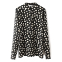 Stand Up Neck Flare Flower Print Button Down Shirt