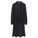 Stand Up Neck Polka Dot Belt Waist Long Sleeve Shirt Midi Dress