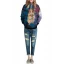 Crown Hamster & Galaxy Print Hooded Long Sleeve Sweatshirt